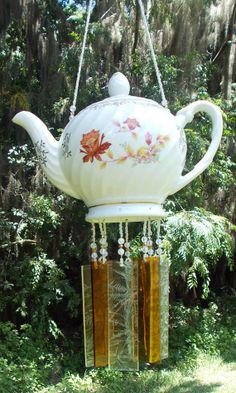 Fall Leaves Teapot Upcycled into a Windchime with by hunter5220, $65.00