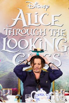 Johnny Depp at the press conference for 'Alice Through the Looking Glass' in London, 8th May.
