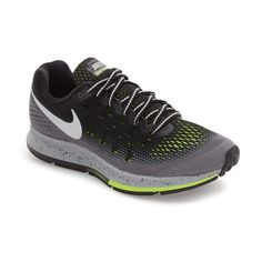 Women's Nike Air Zoom Pegasus 33 Shield Running Shoe ($125) ❤ liked on Polyvore featuring shoes, athletic shoes, lock shoes, breathable mesh shoes, running shoes, mesh shoes and nike footwear