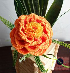 Crocheted realistic peony flower twig by BeACrafterxD on Etsy, $35.00