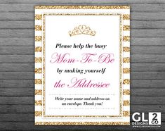 Princess Baby Shower Address an Envelope Sign. 8x10 Printable Girl Baby Shower Envelope Address Sign, Write your Address. Pink, Gold & White by GLDesigns2Go