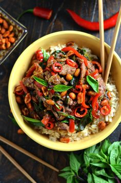 30 Minute Thai Beef Stir Fry with Sriracha Roasted Peanuts. This recipe ticks all of the boxes: quick, easy, healthy, spicy, sweet, savory, and super versatile.