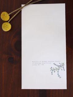 Bespoke enveloppe portrait floral olive motif