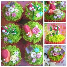 So pretty, and too good to eat... enchanted garden cupcakes.