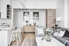 Post: Cocina abierta en un piso pequeño --> blog decoración nórdica, cocina abierta, Cocina abierta en un piso pequeño, decoración blanco, decoración pisos pequeños, diseño pisos pequeños, distribución diáfana, mini pisos, open concept