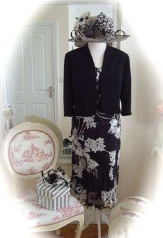 Condici Dress/Jkt, 16,Black/Grey & Condici Hat/Fascinator, Weddings Races Formal