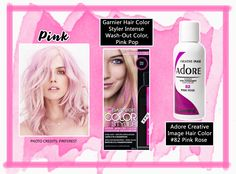 PINK www.theteelieblog.com  If you're looking for a fun yet trendy hair color, why not try pink! This is best for short or medium length hair – just add some messy waves and voila – Chic and fun hair! We will recommend Garnier Styler Intense Wash-Out Color in Pink Pop. Then maintain the hue by using Adore Image Hair Color #82 (Pink Rose). #TeelieBlog
