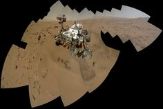 On the 84th and 85th Martian days of the NASA Mars rover Curiosity's mission on Mars (Oct. 31 and Nov. 1, 2012), NASA's Curiosity rover used the Mars Hand Lens Imager (MAHLI) to capture dozens of high-resolution images to be combined into self-portrait images of the rover. This version of the full-color self-portrait includes more of the surrounding terrain than a version produced earlier