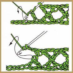 Crochet Stitches Patterns, Crochet Designs, Stitch Patterns, Filet Crochet, Crochet Motif, Knit Crochet, Dorset Buttons, Crochet Twist, Crochet Market Bag