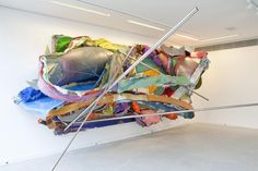 """Nuno Ramos """"Pinturas"""" (created since 1988) consisting on voluminous structures, from 3 m high, made out with mixed materials: steel, plush fabric, ink, oil, etc."""