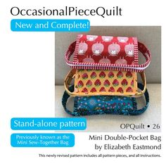 Mini Double-Pocket Bag - Payhip Paper Piecing Patterns, Quilt Patterns, Sew Together Bag, Christmas Tree Quilt, Circle Quilts, Quilt Labels, Pocket Pattern, Purse Organization, Printing Labels
