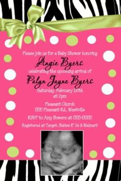 Zebra Hot Pink Lime Green Sassy Baby Shower Invitation | eBay