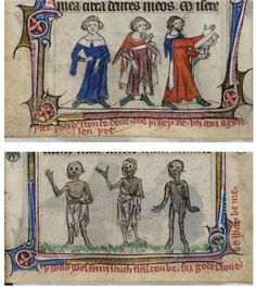 Medieval Manuscripts Depict A Terrifying Tale Of The Walking Dead Medieval Manuscript, Medieval Art, Illuminated Manuscript, Renaissance, Old Best Friends, High Middle Ages, Medieval Paintings, Dance Of Death, 17th Century Art