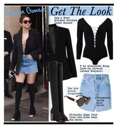 """Get The Look: Selena Gomez"" by hamaly ❤ liked on Polyvore featuring rag & bone, Givenchy, GetTheLook, StreetStyle, selenagomez, bodysuit and denimskirt"