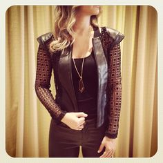 black leather Alexis jacket with lace sleeves