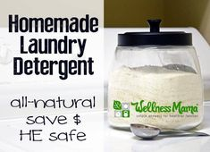 This homemade laundry detergent uses coconut oil soap, borax, washing soda, and optional essential oils to naturally clean laundry effectively. HE safe.