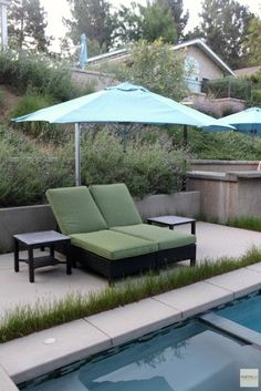 Saliva Clevelandii bolsters the slope retention capacity of the retaining walls behind this lounge. It also sends a fresh, earthy scent throughout the poolside lounge. Retaining Walls, Outdoor Furniture, Outdoor Decor, Earthy, Sun Lounger, Oasis, Palette, Entertaining, Fresh