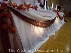 White, Decor, Brown, Fall, Table, Rustic, Head, The wedding decorators inc, Colour
