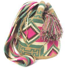 Wayuu mochila shoulder bag beige winter pastel with pink special