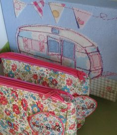 Caravan prints and floral vintage look cosmetic bags. Available at Lorient Gift Dun Laoghaire