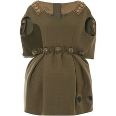 Marc Jacobs Olive Hopsack Dress With Capelet Top (£2,735) ❤ liked on Polyvore featuring dresses, marc jacobs dress, military dress, no sleeve dress, cinched waist dress and olive dress