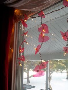 these glittery heart lights are really stunning and easy to make get the mini light length that works for you httpwwwpartylightscomstrings - Valentine String Lights