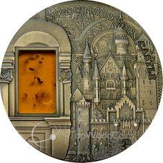 Palau 2011 10$ Castle Neuschwanstein Mineral Art III UNC Silver Coin :: Top World Coins