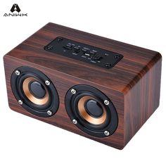 $19.87 (Buy here-> http://ali.pub/165w6s) Retro Wood Wireless Bluetooth Speaker Portable HIFI Speaker 3D Dual Loudspeakers Surround USB Charging Original Wooden