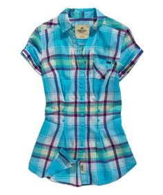 Turquoise & Purple Plaid Button-Up Top