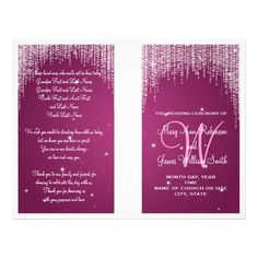 Wedding Program Night Dazzle Berry Pink Custom Flyer