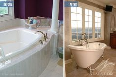 Great before and after...Freestanding slipper tub.  #nealsdesignremodel