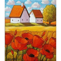 PAINTING ORIGINAL Acrylic on Canvas Red Poppy Flower Cottages, Yellow Field, Modern Ready to Hang Folk Art Landscape Artwork Horvath 10x12
