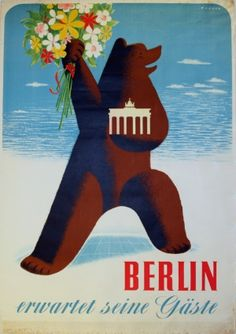 Berlin Welcomes Guests, 1956 - original vintage poster by Wagner listed on AntikBar.co.uk