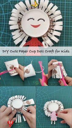 Easy to Make Flower Vase with Kids  <br> Paper Cup Crafts, Paper Crafts For Kids, Preschool Crafts, Diy For Kids, Easy Crafts, Newspaper Crafts, Handmade Crafts, Decor Crafts, Labor Day Crafts