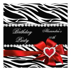 Elegant Zebra Print Red Heart Bow Birthday Party Personalized Announcement