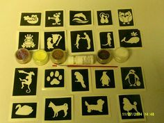 Cute & Funny Animal Glitter Tattoo Set Cat Dog Frog Crocodile Meerkat Penguin
