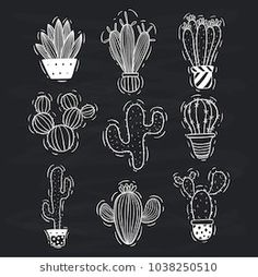 set of cute doodle cactus with cactus pot on blackboard background Blackboard Drawing, Blackboard Art, Chalkboard Lettering, Chalkboard Designs, Hand Lettering, Chalkboard Drawings, Chalkboard Wall Bedroom, Chalk Wall, Cactus Drawing
