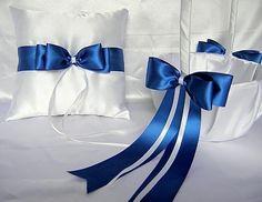 Wedding Accessories Royal Blue Flower Girl Basket Ring Bearer Bearer Pillow Pillow Customized Color. $33.99, via Etsy.