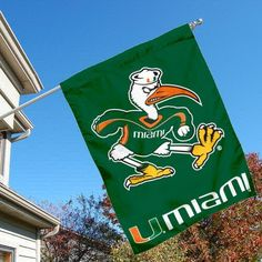 University of Miami Hurricanes House Flag by College Flags and Banners Co.. $23.95. University of Miami Hurricanes House Flag is 30x40 inches in size, is made of single-ply polyester with double-sided bottom school panel, has a top sleeve for insertion of a wood or aluminum flagpole, and the Licensed NCAA School logos are screen printed into this University of Miami Hurricanes House Flag.