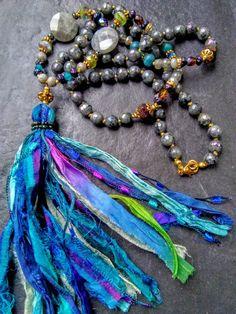 Boho Tibetan Agate gemstone sari silk tasselboho sari silk tasselprinted tasselmulti color sari tasselagate beaded chain tasselsari
