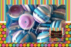 BLUE Purple White Striped BEADS, Qty 10, 20mm Bead, Chunky Bead, Chunky Necklace, Round Bead, Striped Beads, BUBBLEGUM Beads, Gumball Beads
