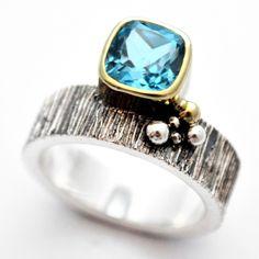 December Birthstone :blue goldsmiths : swiss blue topaz square offset scratch - carbon38