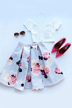 Keepsake Divide Light Grey Floral Print Midi Skirt
