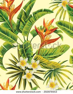 tropical exotic flowers and plants  seamless background - stock vector