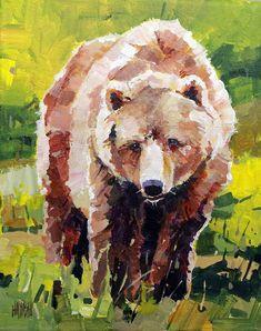 "'Spring Bear' 8"" x 10"" Acrylic on Canvas Artist Randy Hayashi"