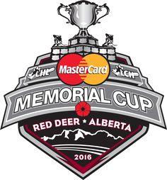 the logo for the 2016 Mastercard Memorial Cup to be held at the ENMAX Centrium in Red Deer Alberta Red Deer Alberta, Tv Online Streaming, Juventus Logo, Memories, Hockey, Knights, Tigers, Medicine, London