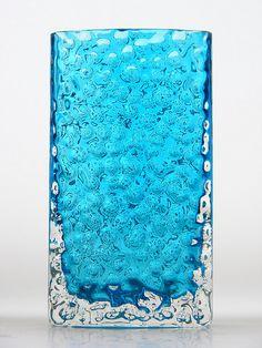 9762 Whitefriars kingfisher nailhead textured glass vase. Designed by Geoffrey Baxter