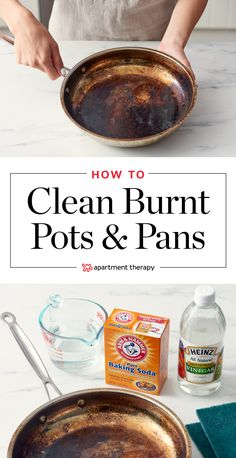 How To Clean Burnt Pots Scorched Pans burn marks on metal pots and pans can be touch but this easy how to will shine your kitchenware to look as good as new Deep Cleaning Tips, House Cleaning Tips, Cleaning Solutions, Spring Cleaning, Cleaning Hacks, Cleaning Burnt Pans, Diy Hacks, Cleaning Products, Cleaning Copper
