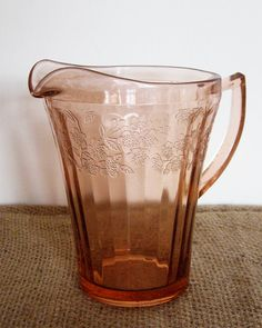 Jeannette - Pink Cherry Blossom Glass Pitcher - Depression Glass