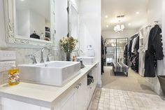IDEAS closet and bathroom combination off the master bedroom!  Love this style.   Luxury bathroom leading into white walk-in closet
